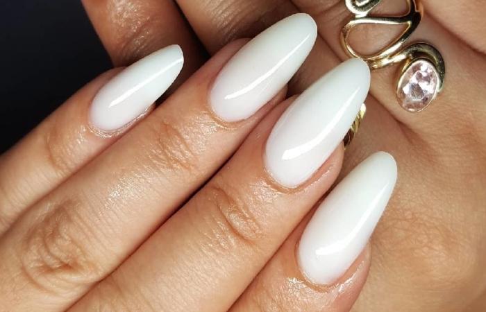 image result for white milky nails