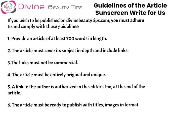 guidelines Sunscreen write for us